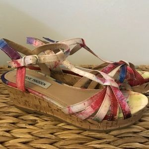 Steve Madden Sandals Girls 3 Wedge Tie Dye Buckle